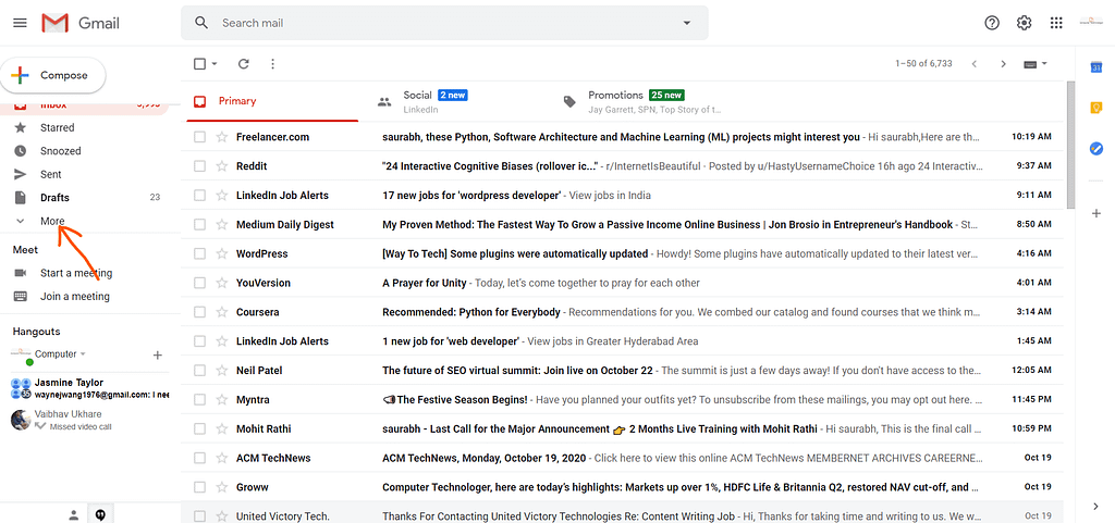 Where is the spam folder in Gmail