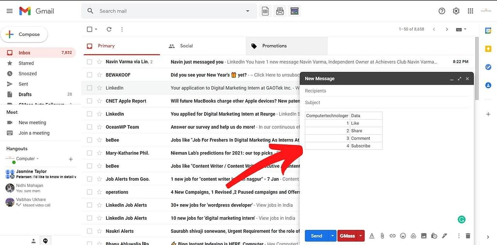 add table in gmail